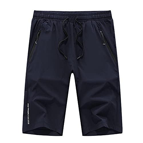 Katenyl Pantalones Cortos de Cintura Media de Talla Grande para Hombre, Moda, cómodos, Sencillos, Informales, Deportivos básicos, con Bolsillos con Cremallera 4XL