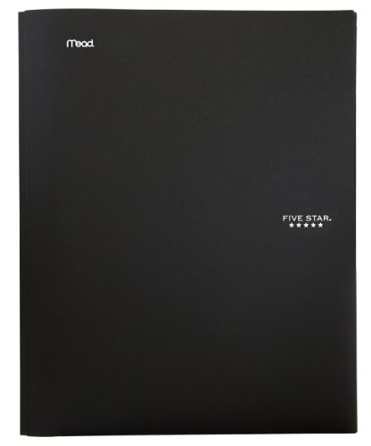 "Five Star 2-Pocket Folder, Stay-Put Folder, Plastic Colored Folders with Pockets & Prong Fasteners for 3-Ring Binders, Great for Home School Supplies & Home Office, 11"" x 8-1/2, Black (72113)"