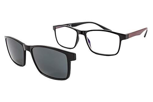 PACK 2 Gafas de lectura con imán para sol - Gafas de presbicia - Vista cansada graduadas - Unisex - Mujer - Hombre - 6016 (C2-2, 1.00 Dioptrías)