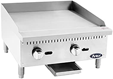 Atosa ATMG-24 Heavy Duty Stainless Steel 24-Inch Manual Griddle ( High 60k BTU) - PROPANE