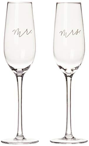 Pearhead Mr. & Mrs. Champagne Flute Set, Wedding Toasting Glasses