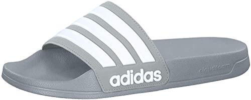 adidas Men's Adilette Shower Slide Sandal, White/Grey, 10 M US