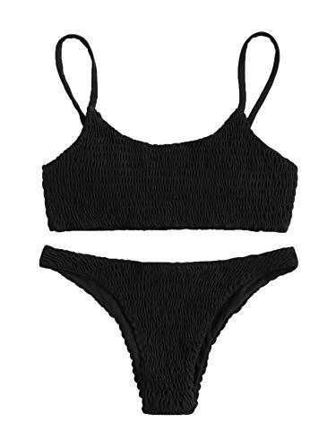 Verdusa Women's 2 Peices Bathing Suit Smocked Wireless Bikini Bandeau Top Thong Swimsuit Black L