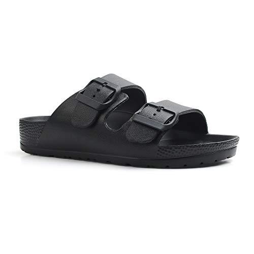 Qtdstz Women's Comfort Slides Double Buckle Adjustable EVA Flat Sandals (Black, Numeric_8)