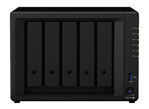 Synology DiskStation DS1019+ iSCSI NAS Server with Intel Celeron Up to 2.3GHz CPU, 8GB Memory, 20TB HDD Storage, DSM Operating System