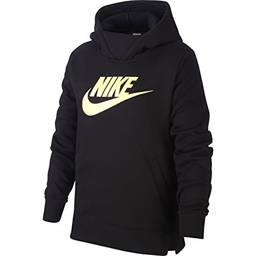 Nike Girls NSW Pullover Hoodie (Black/Pale Volt, Large)