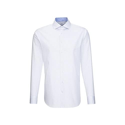 Seidensticker Herren Shaped Fit Langarm Twill Hemd, Weiß (Weiß 01), (Herstellergröße: 40)
