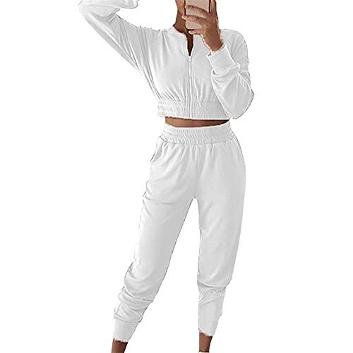 PRJN Conjuntos de Pijamas para Mujer, 2 Blusas y Pantalones de Manga Larga, Ropa de Dormir para Damas, Pijamas, Conjuntos de Pijamas para Mujeres, Conjuntos de Pijamas para Mujeres, de algodón Largo