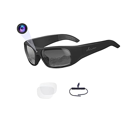 OhO sunshine Waterproof Video Sunglasses,1080P Full HD Outdoor Sports Action Camera with 32GB Built-in Memory and Polarized UV400 Protection Safety Lenses,Unisex Sport Design