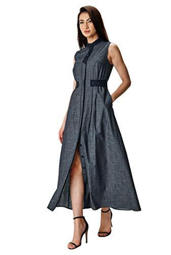 eShakti Women's Contrast Trim Cotton Chambray Release Pleat Maxi Shirtdress UK Size 10 / Short Height Indigo Chambray/deep Navy