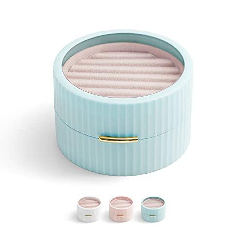 Pequeño joyero de viaje, caja de joyas, pendientes, collares, joyas, caja de almacenamiento multicapa, fino, color azul