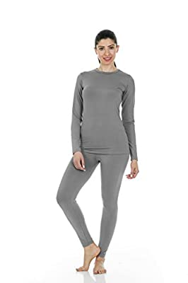 Thermajane Women's Ultra Soft Thermal Underwear Long Johns Set with Fleece Lined (Large, Grey)