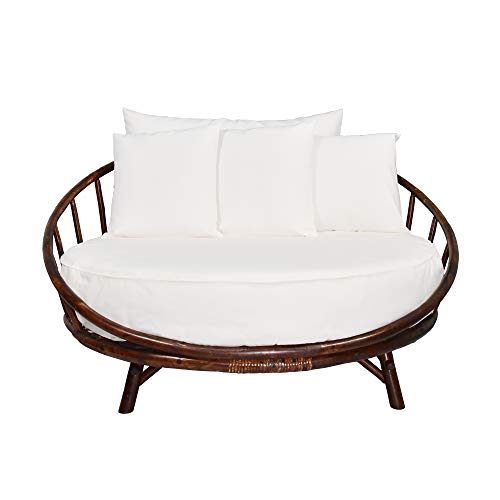ZEW Bamboo Round Daybed Outdoor Indoor Large Accent Sofa Chair Lawn Pool Garden Seating with Cushion and Pillows Sofabed, Espresso
