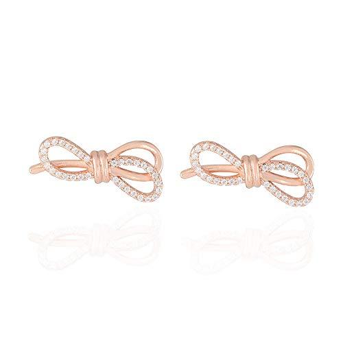 Pendientes de lazo de oro rosa y diamantes de circonio