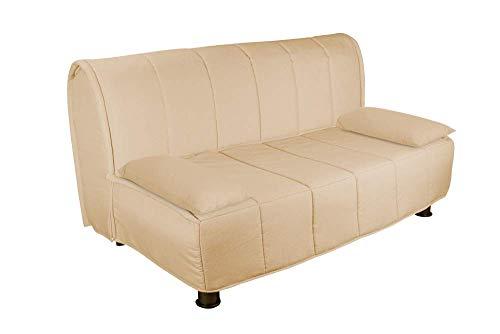 Evergreenweb – Sofá cama con colchón matrimoial de 140 x 190 cm, de Waterfoam ortopédico, listo con funda extraíble y lavable, color cojines supersuaves a juego color beige – Evening