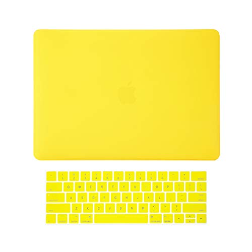 TOP CASE MacBook Pro 13 inch Case 2019 2018 2017 2016 Release A2159 A1989 A1706, 2 in 1 Signature Bundle Rubberized Hard Case + Keyboard Cover Compatible MacBook Pro 13' Touch Bar, Yellow