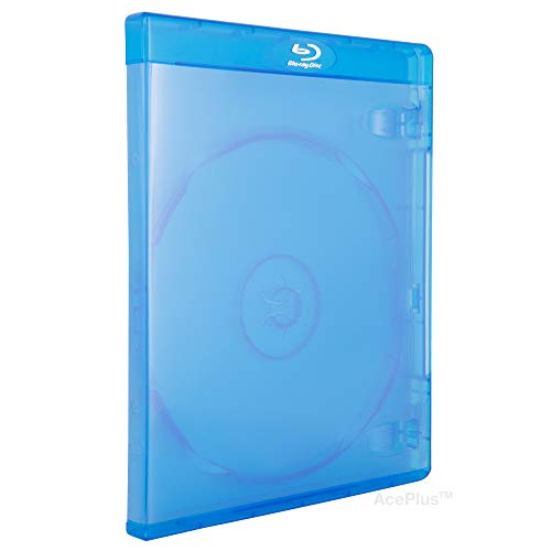 AcePlus 10 Blu-Ray Single Cases with 12mm Standard Size Thickness with Embossed Logo (10-Pack)