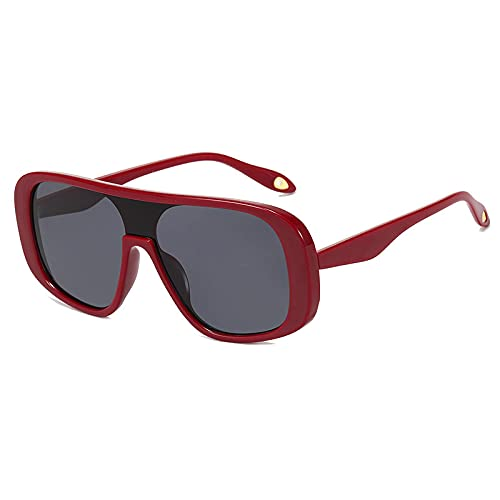 JINZUN Gafas de Sol de Moda Tendencia Gafas de Sol de Montura Grande Al Aire Libre Anti-UV Sombrilla Espejo Unisex Granate/Gris