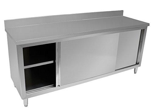 Beeketal 'BSA200' Gastro Edelstahl Arbeitstisch Küchenschrank mit Schiebetüren, Unterschrank mit justierbaren Stellfüßen, Arbeitsplatte mit 10 cm Aufkantung, Maße (B/T/H) 2000 x 560 x 950 mm