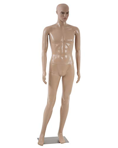 Full Body Mannequin Male Dress Form Adjustable Dress Model Sewing Manikin 73 Inch Mannequin Stand Realistic Mannequin Display Clothing Form Metal Base Showcase Mannequin