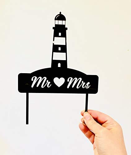 Mr & Mrs Leuchtturm Hochzeitstorte Dekoration – Strand oder nautisches Thema Acryl Hochzeit Kuchen Dekoration – Gold Spiegel – Silber Spiegel – Rose Gold