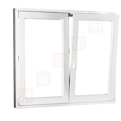 Kunststofffenster   140x140 cm (1400x1400 mm)   weiß   Zweiflügelige ohne Pfosten   rechts