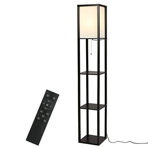 Stehlampe,Tomshine Holzablage Stehlampe dreifarbige Temperatur dimmbar Timing Fernbedienung schwarz mit E27 LED Warmweiß Birne für Wohnzimmer, Schlafzimmer, Büro