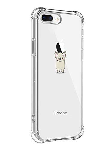 Alsoar Funda Compatible para iPhone 7 Plus,iPhone 8 Plus Ultra Delgada Ligera Transparente Silicona TPU Gel Suave Carcasa Elegante Patrón Lindo Bumper Anti-Rasguño Protector Caso Case (Coala)