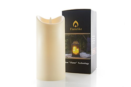 """Flamelike Candles 7"""" Flameless Candle - LED Dripless Flickering Fake Candle for Indoors & Outdoors - Non-Wax Odorless Pillar Candles with Timer Function & Battery Operated. 3.5 x 7"""" Ivory."""