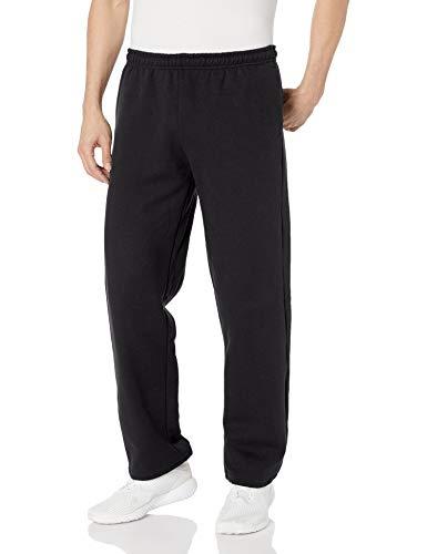 Gildan Men's Fleece Open Bottom Sweatpants with Pockets, Style G18300, Black, Large