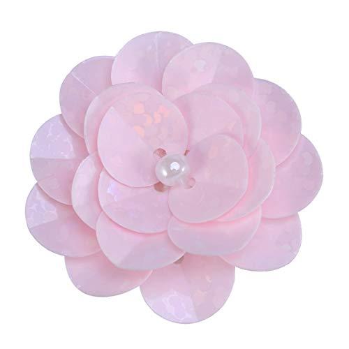 Healifty - Cabezas Artificiales con diseño de Flores en 3D, Perlas y Flores Bordadas de Encaje y Encaje