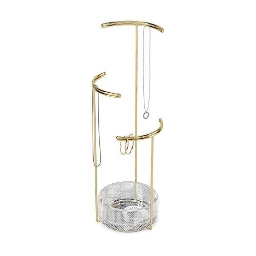 Umbra Tesora Schmuckbaum – Hoher Schmuckständer für Ketten mit integrierter Glas Schmuckablage für Ringe, Ohrringe, Armbänder, Uhren und Accessoires, Gold, One-Size