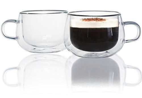 Espressotassen, Chase Chic 150ml(5oz) Espressoglas Doppelwand, Design Espressogläser dickwandig, Tassen-Set mit Henkel, Set 2-teiliges