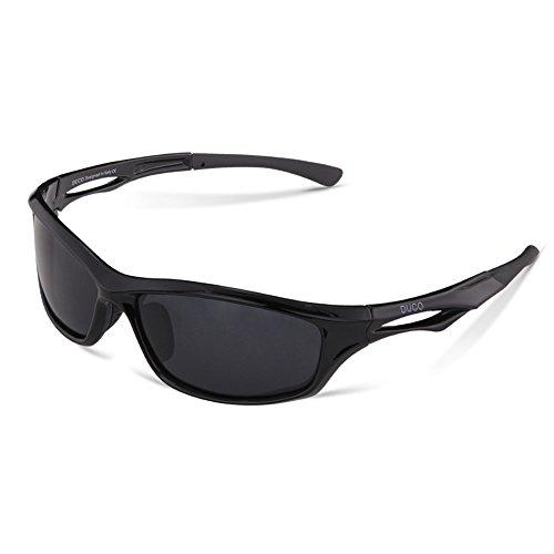 DUCO Polarisierte Sport-Sonnenbrille zum Laufen Radfahren Angeln Golf TR90 Unbreakable Rahmen 6199 (Schwarz)