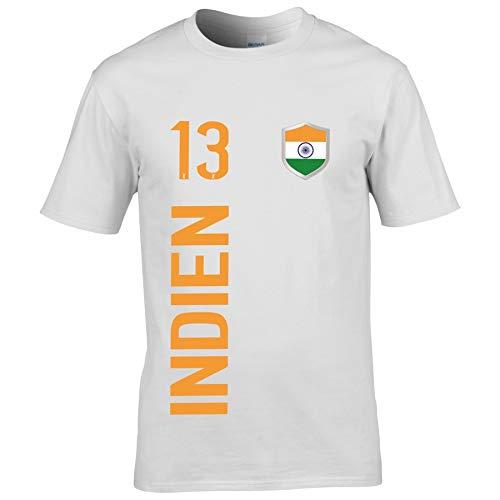 FanShirts4u Kinder Fanshirt Trikot Jersey Indien India T-Shirt inkl. Druck Wunschname u. Wunschnummer WM (9/11 Jahre 134-146 cm, Indien/Weiß - Orange)