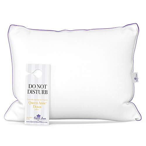 Queen Anne The Original Pillow - Famous 100% European White Goose and Duck Down Blend - Cruelty Free Luxury Hotel Pillows - Made in USA (Queen Medium)