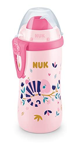 NUK Botella de aprendizaje flexible con pajita suave, efecto camaleón, 300 ml, 12 meses, antigoteo, sin BPA, color rosa