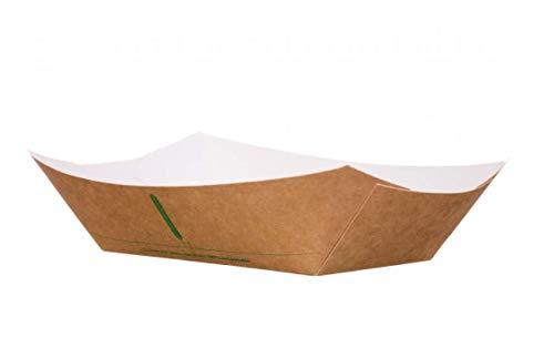 bio3 Barqueta desechable para Llevar, 100% Biodegradable y Compostable, Plato, Bandeja, Barqueta, Cuenco para Llevar 25 Piezas 16x11x4.5cm, 400ml