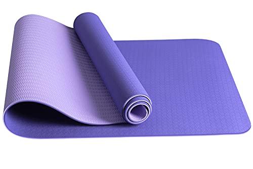 Tappetino Yoga jojobnj, Tappetino Fitness Antiscivolo in TPE Ecologico, Tappetino Yoga per Uomini e Donne Fitness, Esercizio Pilates, 180 x 60x0.6 cm (Borsa a rete, cinghia fissa) (Viola Chiaro)
