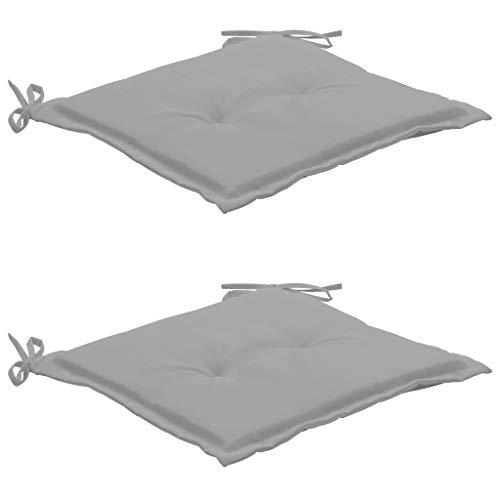 Tidyard 2er-Set Gartenstuhlkissen Sitzkissen Sitzpolster Auflage Kissen Polster für Gartenstuhl Gartenmöbel Outdoor, 50×50×3 cm Grau