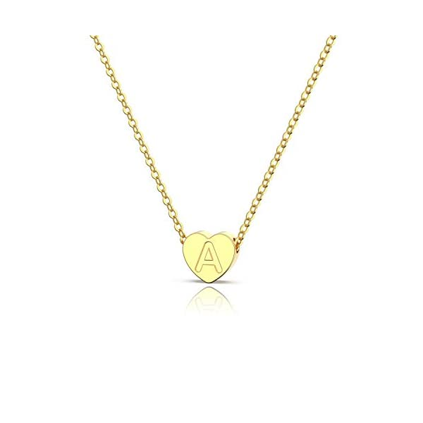 Jewlpire Real 18K Gold Filled Tiny Heart Initial Necklaces Sterling Silver Necklace Dainty Letter Heart Pendant Personalized Choker Necklace Jewelry for Women Girls Kids Teen Child 16″+2″ Extender