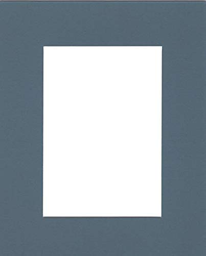 Pack of (5) 11x14 Acid Free White Core Picture Mats Cut for 8x10 Pictures in Slate Blue