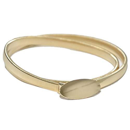 LTH-GD Kleidung Süßes Temperament oval Schnalle dekorative elastische Taillenkette Damen Neue Metallfeder Taillenkette Herrengürtel (Color : Gold, Size : 70cm)