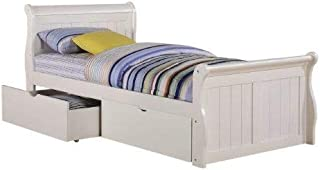 Donco Kids Sleigh Bed with Dual Underbed Drawers, Twin, White