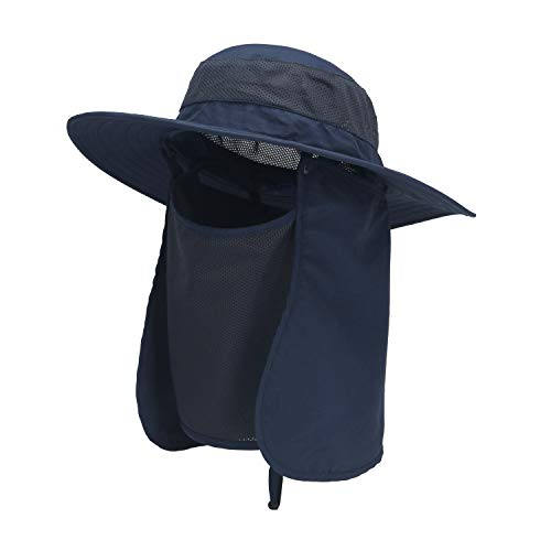 ASY Outdoor Sun Hat UPF 50 Protection Waterproof Fishing Cap Face Cover Summer Neck Flap Hat Royal Blue