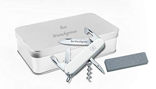 TR Victorinox Spartan (weiß) + Schleifstein in Geschenkbox, mit Ihrer persönlichen Gravur