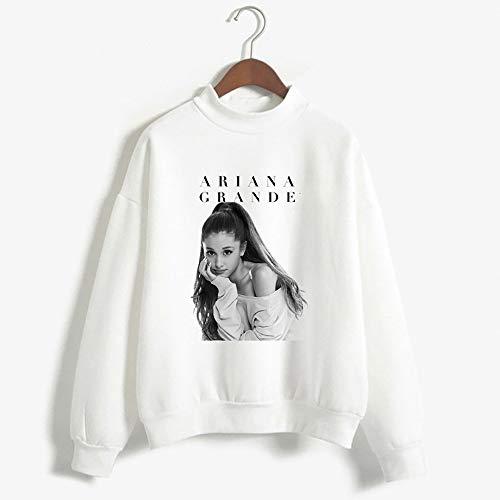 XUJIN Ariana Grande Langarm-Sweatshirt mit Rundhalsausschnitt, Kangaroo Pocket Hoodie Langarm-Sweatshirt mit Kapuze,White,M