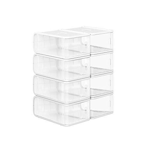 SONGMICS Cajas de Plástico para Zapatos, Paquete de 8, Organizador de Almacenamiento de Zapatos Apilable con Puerta Frontal, Tamaños hasta 41, 21,5 x 32,5 x 13,5 cm, Transparente LSP08TP