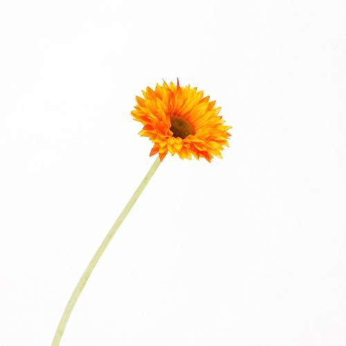 artplants.de Künstliche Mini - Gerbera, gelb - orange, 45cm, Ø 7cm - kleine Kunstblume - Dekoblume