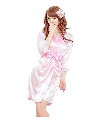 Ropa de Dormir Kimono Sexy Ropa de Dormir Vestido de Encaje de satén de Seda Baño Robe G Cadena (Rosa Claro, Talla pequeña)